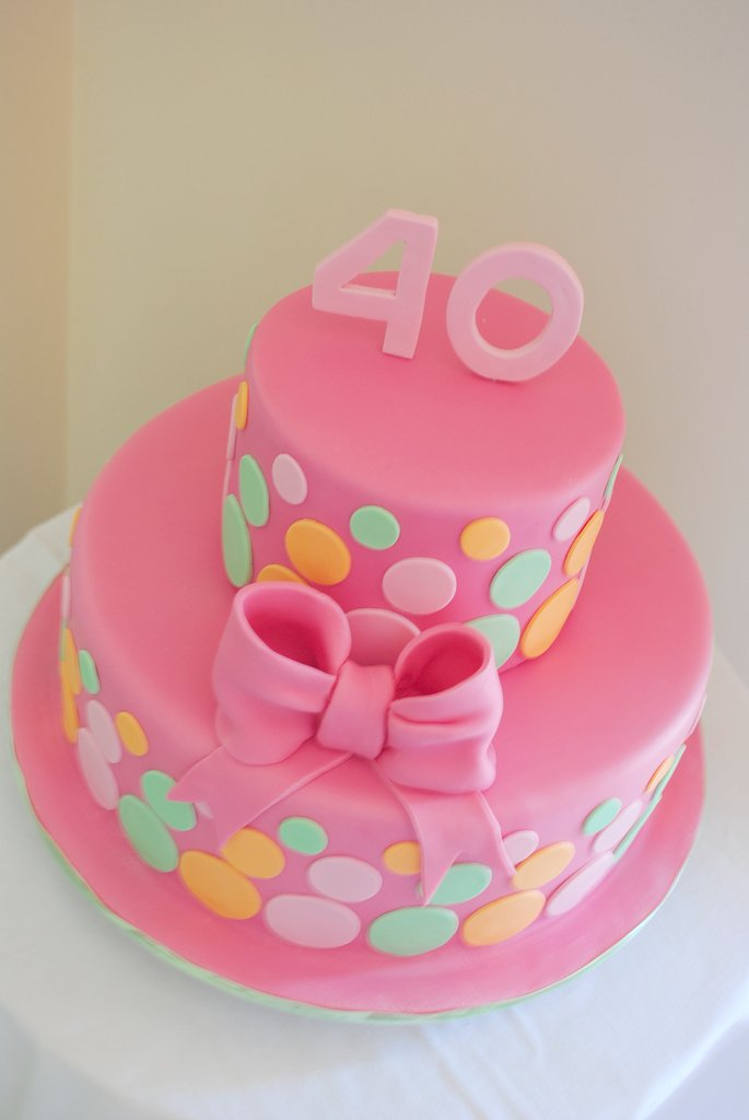 40th Birthday Cake Bright Fun And Girly Cake For A 40th