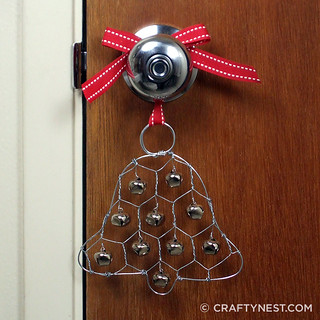 chicken wire jingle bell ornament | by craftynest