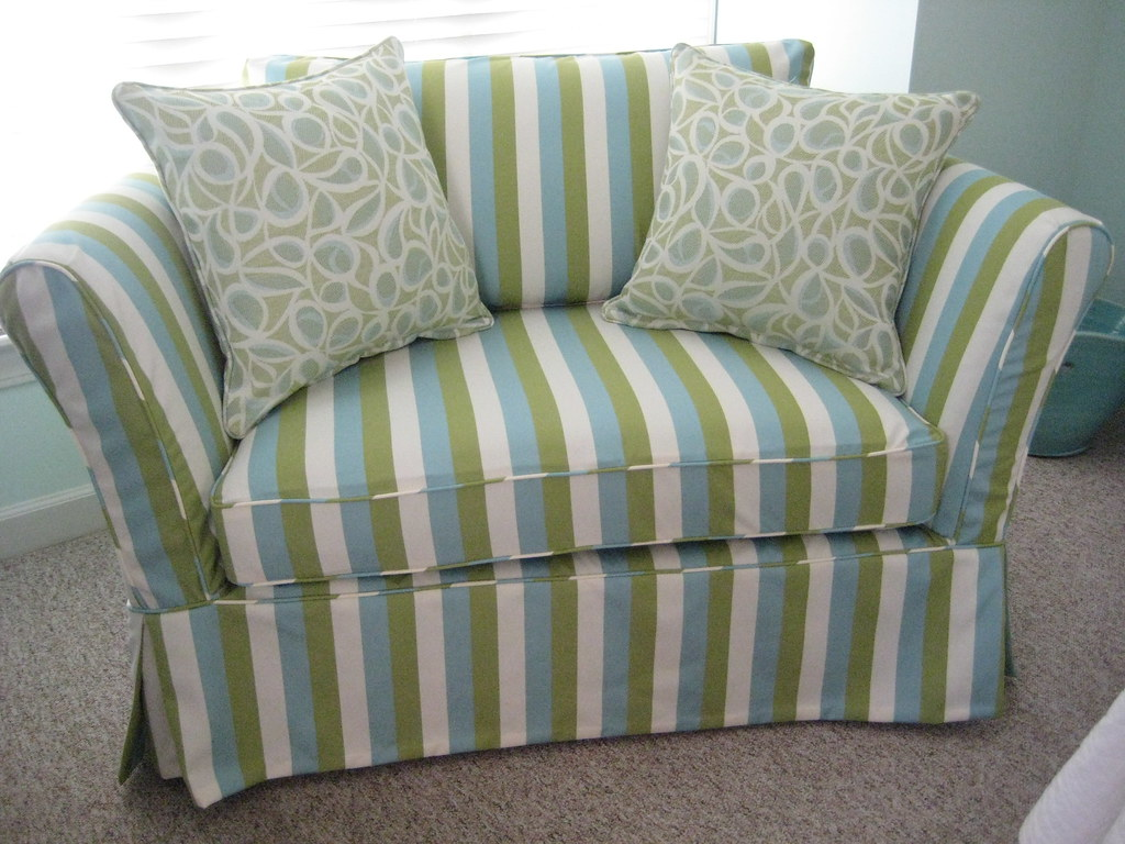 Small Loveseat With Custom Striped Slipcover In Outdura Fa Flickr