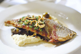 pancetta-wrapped trout with parsnips, hazelnuts and balsamic brussels sprouts | by Darin Dines
