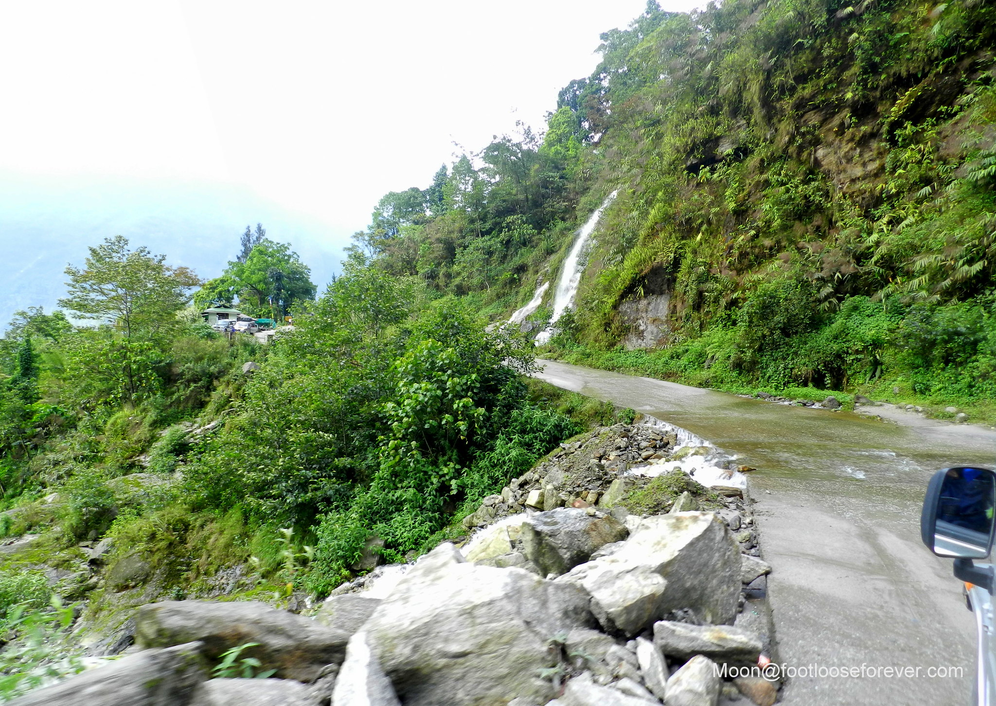waterfall, mountain road, sikkim, lachung