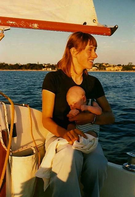 Jill and Luke (6 weeks old) at South Perth, 1978