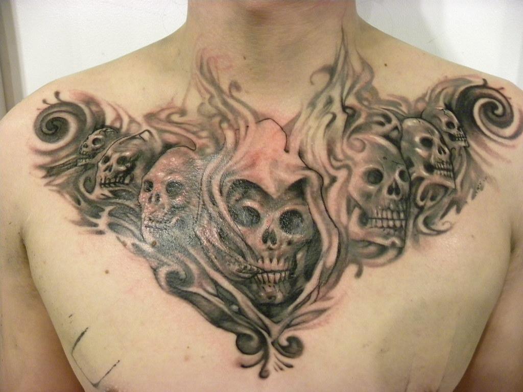 Skulls and Smoke Tattoo   Group of black and grey skulls ...