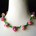 Crochet Necklace Pink Flowers Daisy Chain