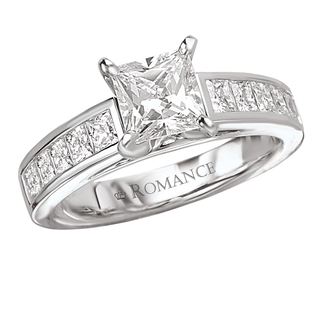 Square Side Stone Diamond Engagement Ring Princess Cut Cha…