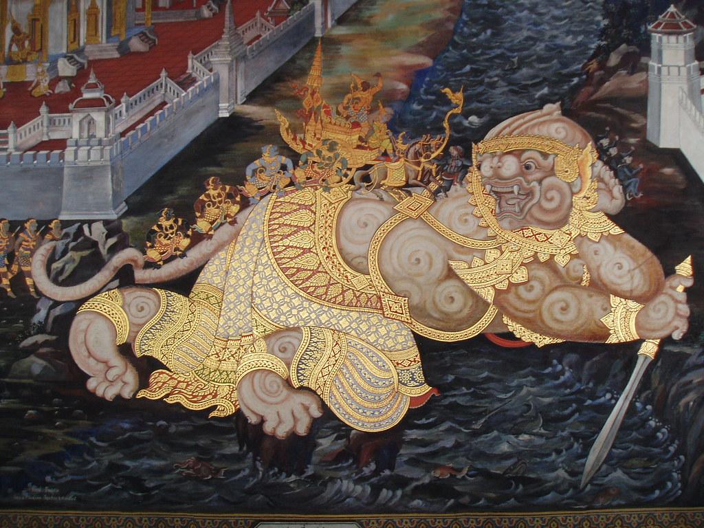 Hanuman Forms A Bridge Ramakien Mural Wat Phra Kaew B