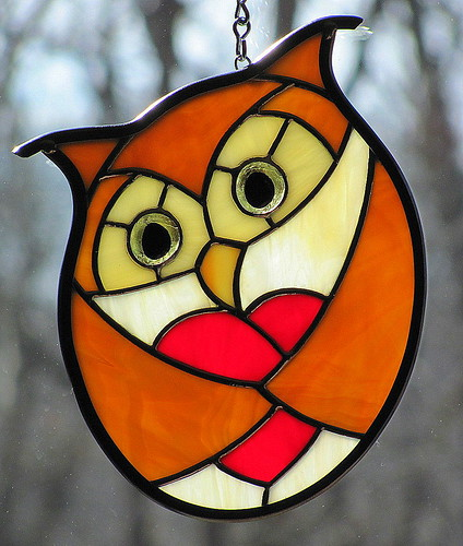 Golden Stained Glass Love Owl | by livingglassart home of oddballs and oddities