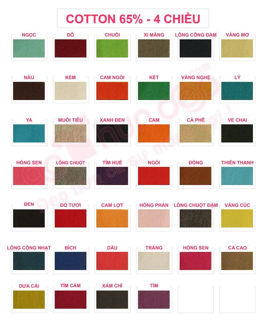 Bảng màu vải áo thun cotton 65% 4 chiều
