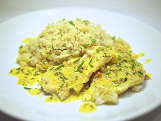 flounder and orange sauce with basmati rice | by andy pucko