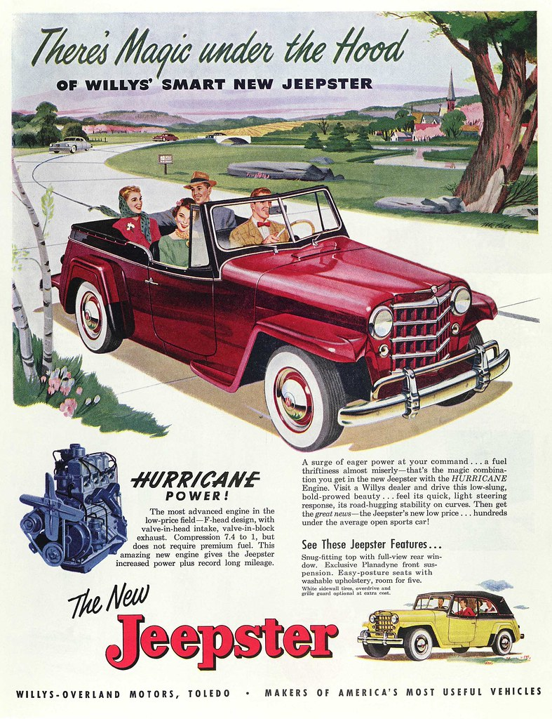 Jeep Willys Overland Jeepster Ad 1950 Jeep Advertisment