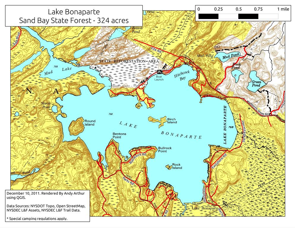 Lake Bonaparte Download Map As A 300 Dpi Jpeg