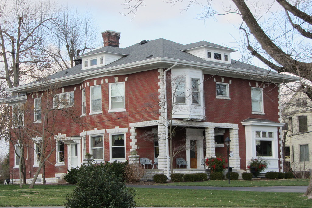 red brick house with white stone trim maple ave red