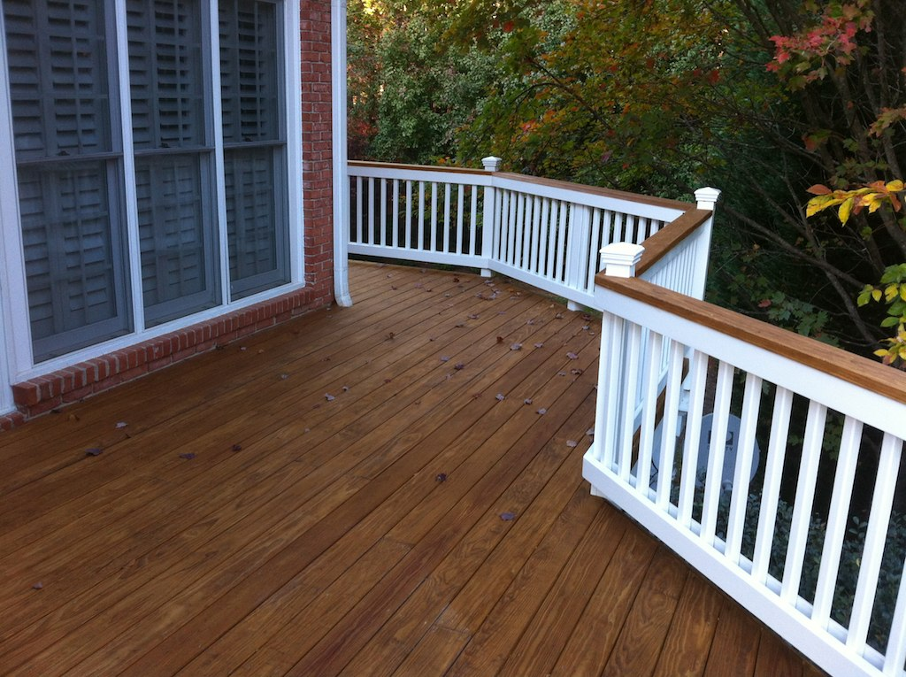 Pressure treated 2x6 kdat decking with painted handrail for What is a 2x6