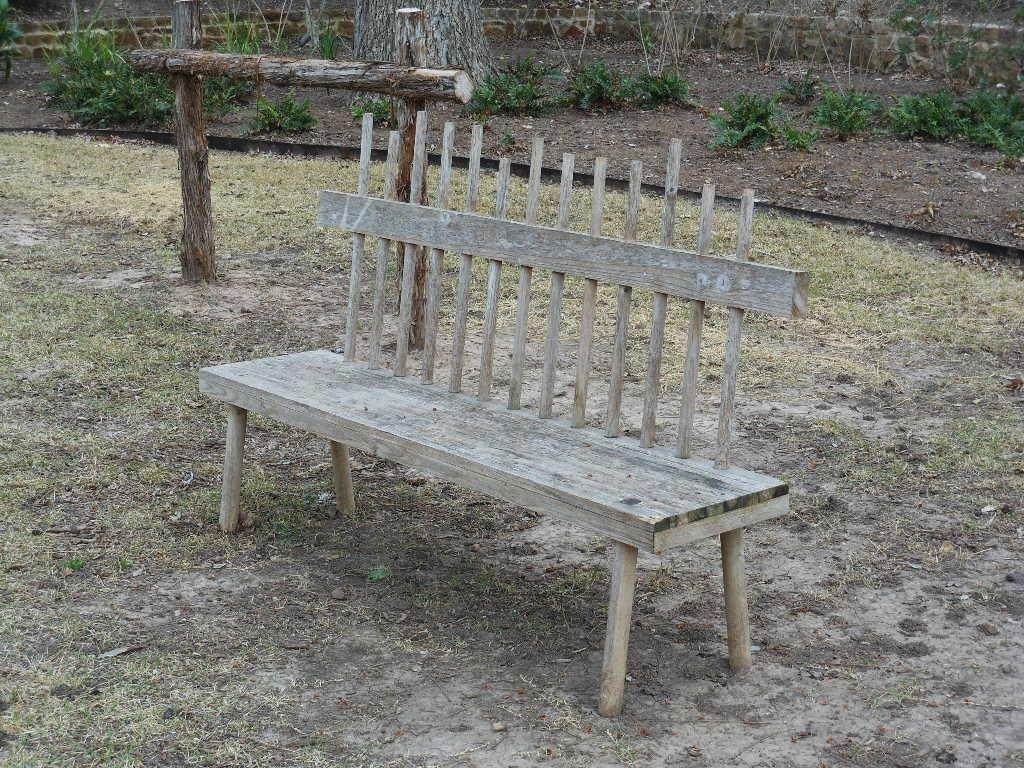 Homemade bench michael coghlan flickr for Homemade log bench