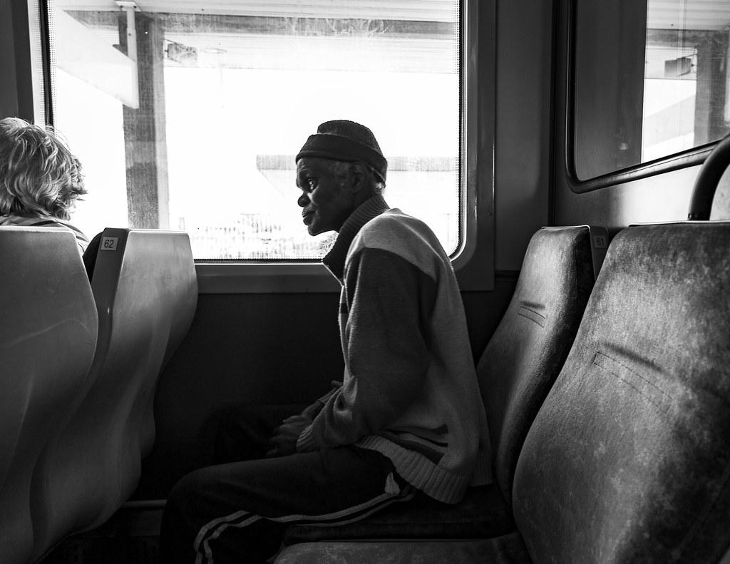 A man on a train