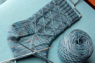 Preppy faux-argyle socks in progress. | by tanislavallee