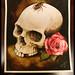 skull roach roses watercolor painting