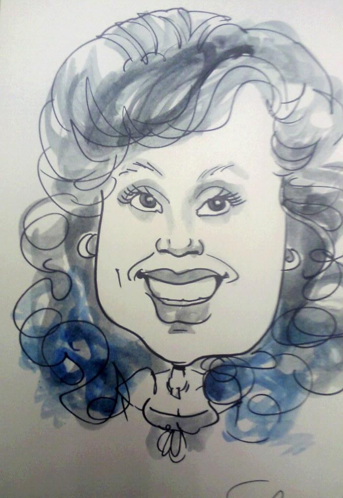 Caricature, full face, monotone wash  Sunshower Rose  Flickr # Sunshower Rose_173655