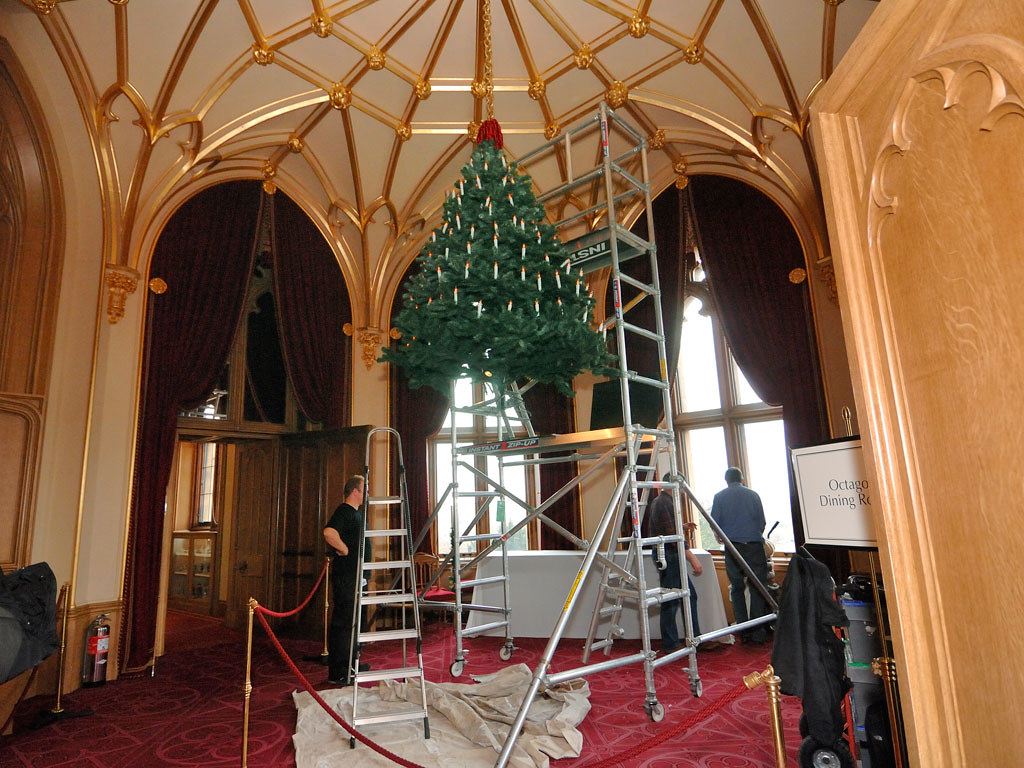 A Christmas Tree Is Hung From The Ceiling At Windsor Castl