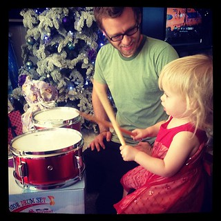 My brother, who has been taking drum lessons from our 90yr old grandpa, now teaching his daughter how to play. #christmas | by ...love Maegan
