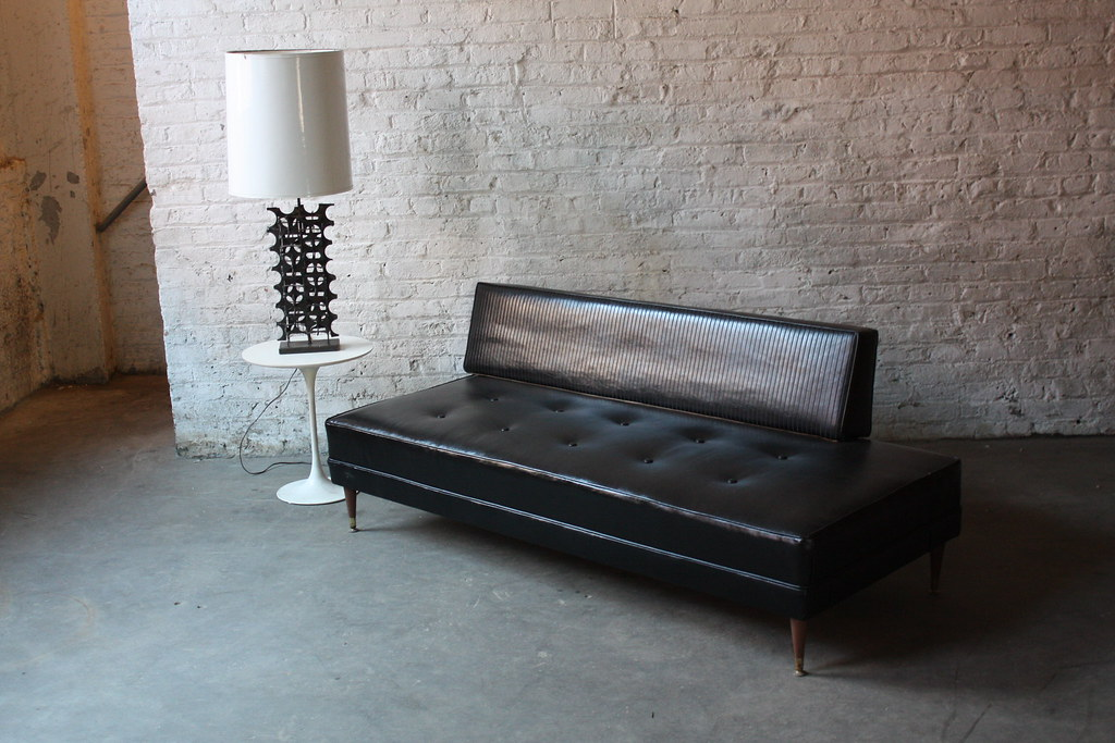Lustful MCM Black Vinyl Danish Modern Sofa/Daybed (2 of th ...