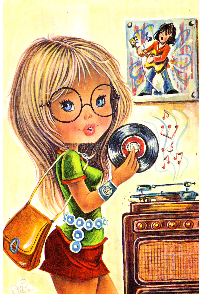 Vintage Postcard, A Big Eyed Girl Playing Her Favorite Rec -3745