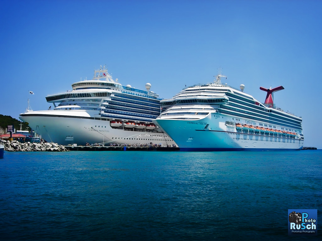 Carnival Valor Next To Caribbean Princess At Port Of St M  Flickr