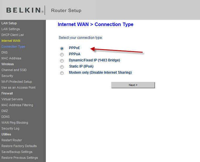belkin router setup ip