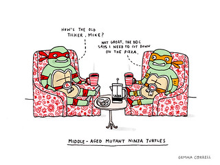 middle-aged mutant ninja turtles | by gemma correll