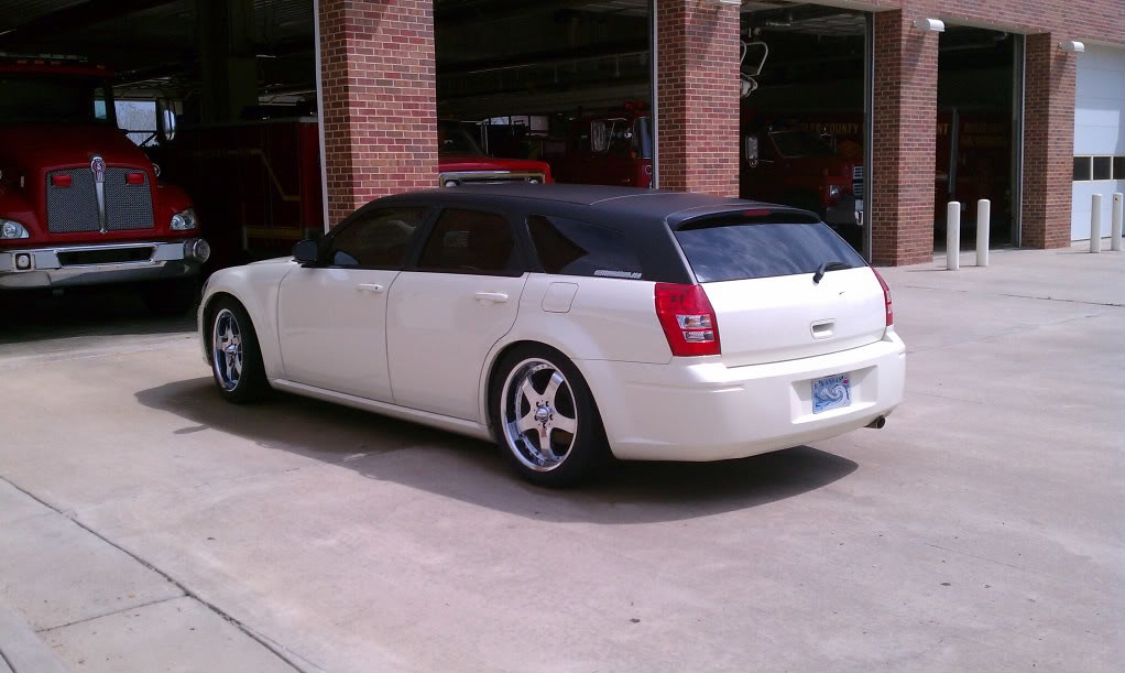 Dodge Magnum Hood Wrapped With Carbon Fiber Vinyl Shown