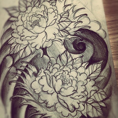 Japanese Wind Tattoo: Roughsketch For An Upcoming #tattoo #peony #flowers #japan