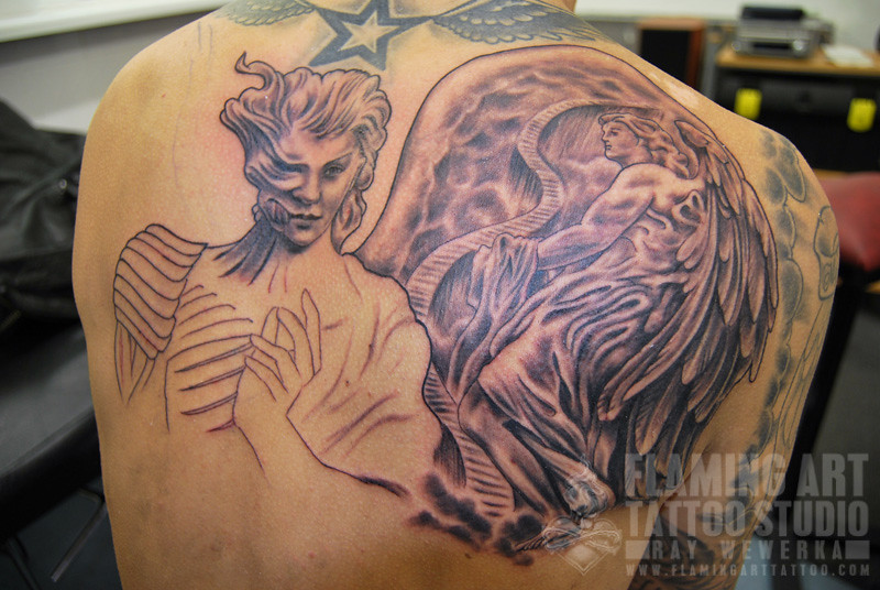 Angels and Demons Back piece Tattoo first sitting | www ...