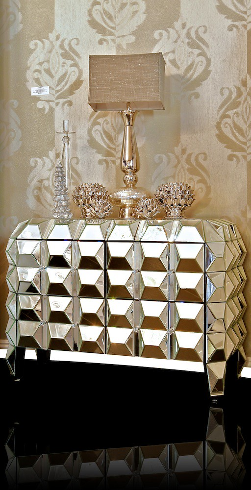 4172 Faceted Mirrored Night Stand Calling All Glamor