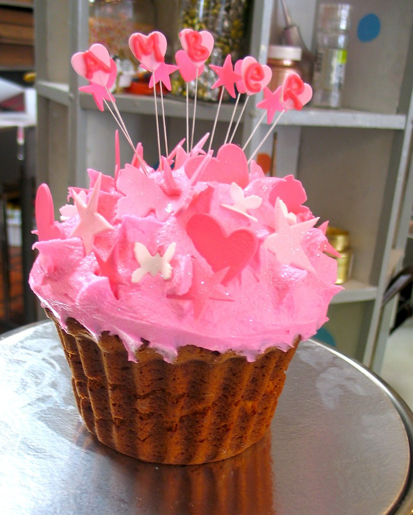 Big Cupcake Shaped Cake Iced In Pink Luf Luf Butter Icing