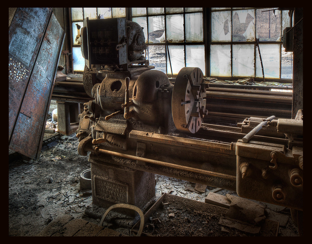 American Tool Works Company Lathe From Abandoned Coal Sift