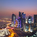 Doha Towers with sunset
