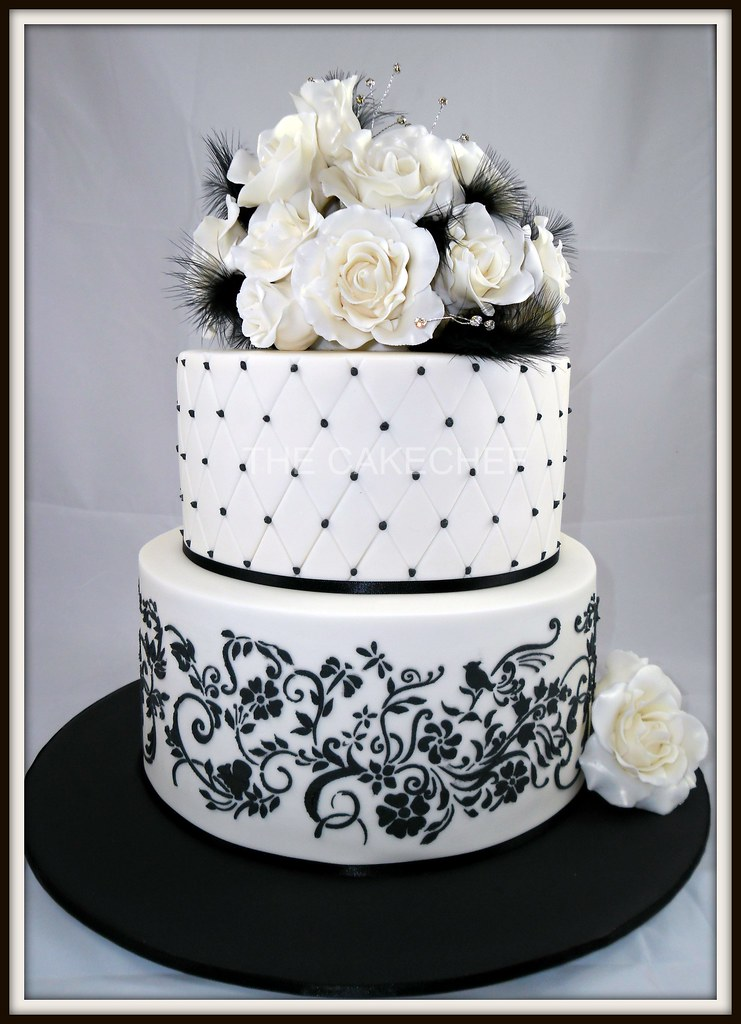 Roses Amp Feathers Wedding Cake 2 Tier Ivory Amp Black With
