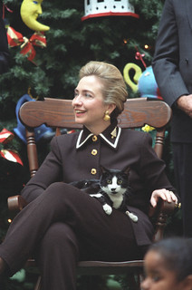 Photograph of First Lady Hillary Rodham Clinton and Socks the Cat: 12/13/1995 | by The U.S. National Archives