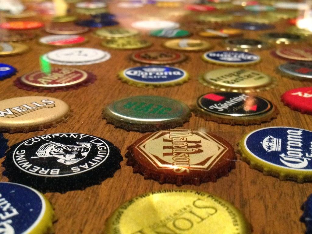 beer bottle caps table top