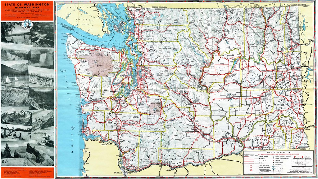1952 Washington State Highway Map  Check Out More Of My