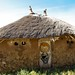 Traditional house with lion face on the walls. Awash. Ethiopia.