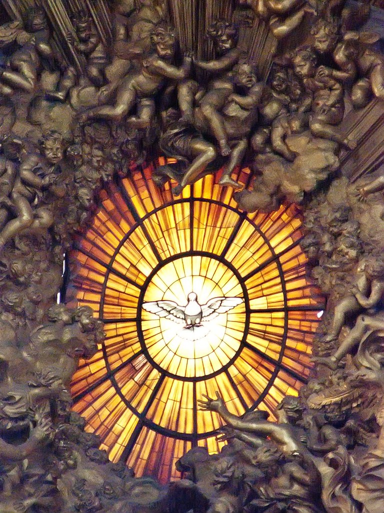 Alabaster Window Depicting The Holy Spirit As A Dove Above