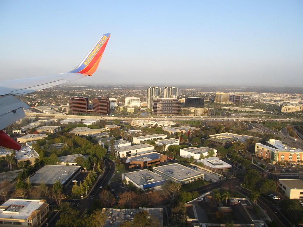 Approaching John Wayne International Airport, Santa Ana, California