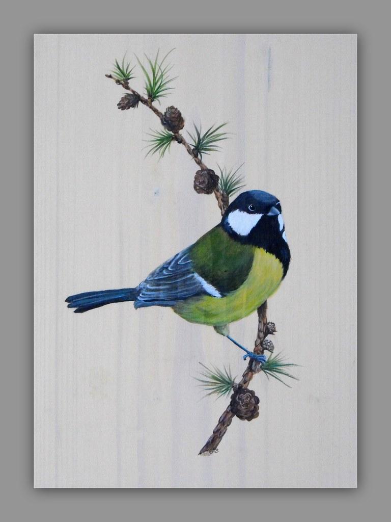 M sange charbonni re peinture acrylique sur bois 24x32 cm rockpainting yvette flickr - Peinture acrylique sur bois ...