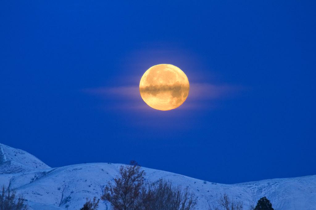Moon Set Moon Rise Big Yellow Moon Setting Through A