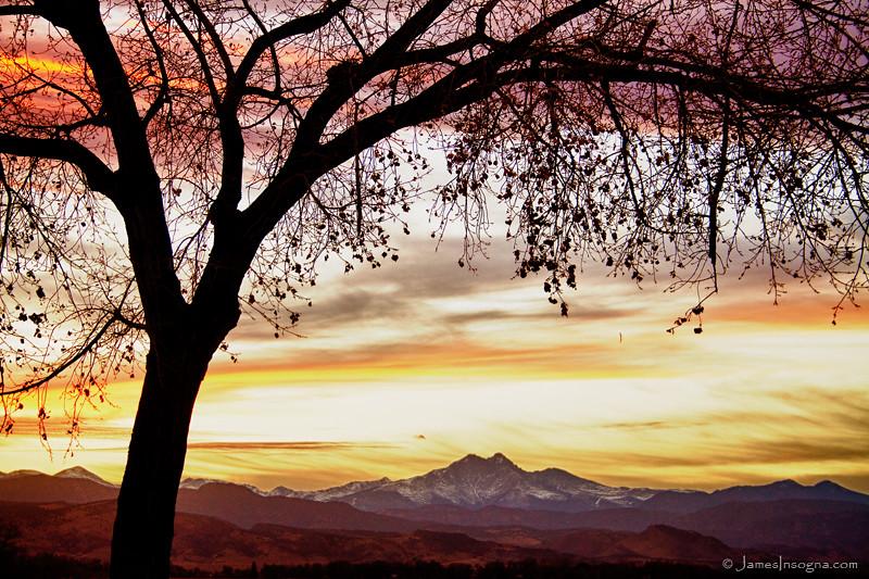 Colorful November Sunset Sky And Longs Peak Colorful