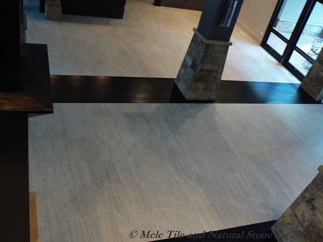 Foyer Tile Inlay : Mele tile travertine wood inlay entryway flickr photo