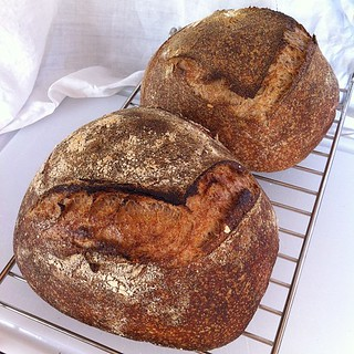 The second loaf is often darker. Whole wheat wafts wonderful smells. | by hizknits