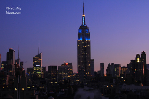 Empire State Building still lit in blue at dawn in honor of NY Giants Superbowl win | by NYCisMyMuse