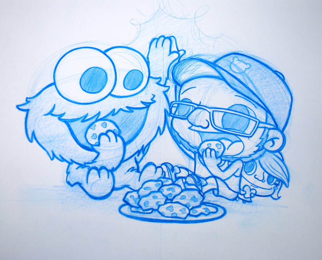 Kevin and the Cookie Monster! | Commissioned blue pencil ...
